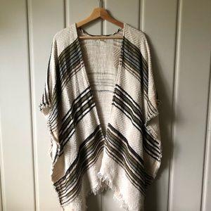 MICHAEL STARS | Striped Woven Ruana Poncho OS